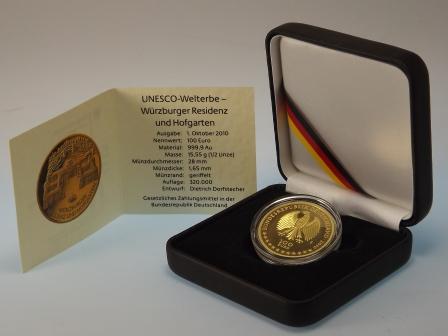 100 Euro Gold Unesco Welterbe Würzburger Residenz und Hofgarten